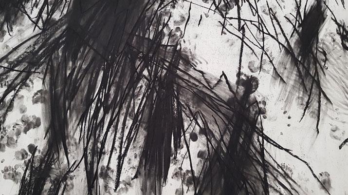 Kunstwerk aus der Ausstellung Miriam Cahn Ich als Mensch im Haus der Kunst in München