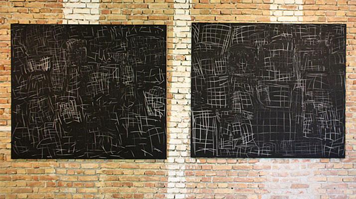 Kunstwerke von Günther Förg in der Ausstellung Königsklasse IV. Gegenwartskunst in Schloss Herrenchiemsee. Von Dan Flavin bis Wolfgang Laib