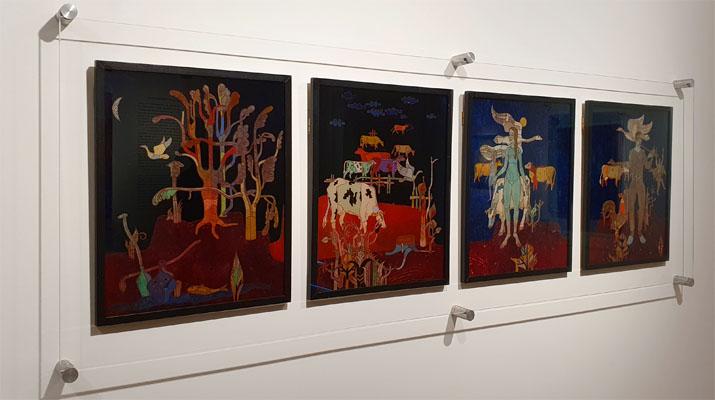 Hinterglasmalerei von Heimrich Campendonk im Museum Penzberg - Sammlung Campendonk