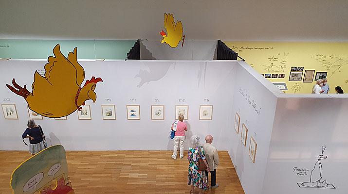 Ausstellung Peter Gaymann Von Hühnern und Menschen im Buchheim Museum der Phantasie