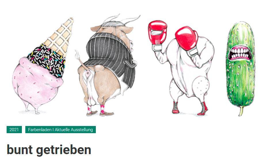 """Ausstellung """"bunt getrieben"""" von Julian Opitz im Feierwerk Farbenladen in München"""